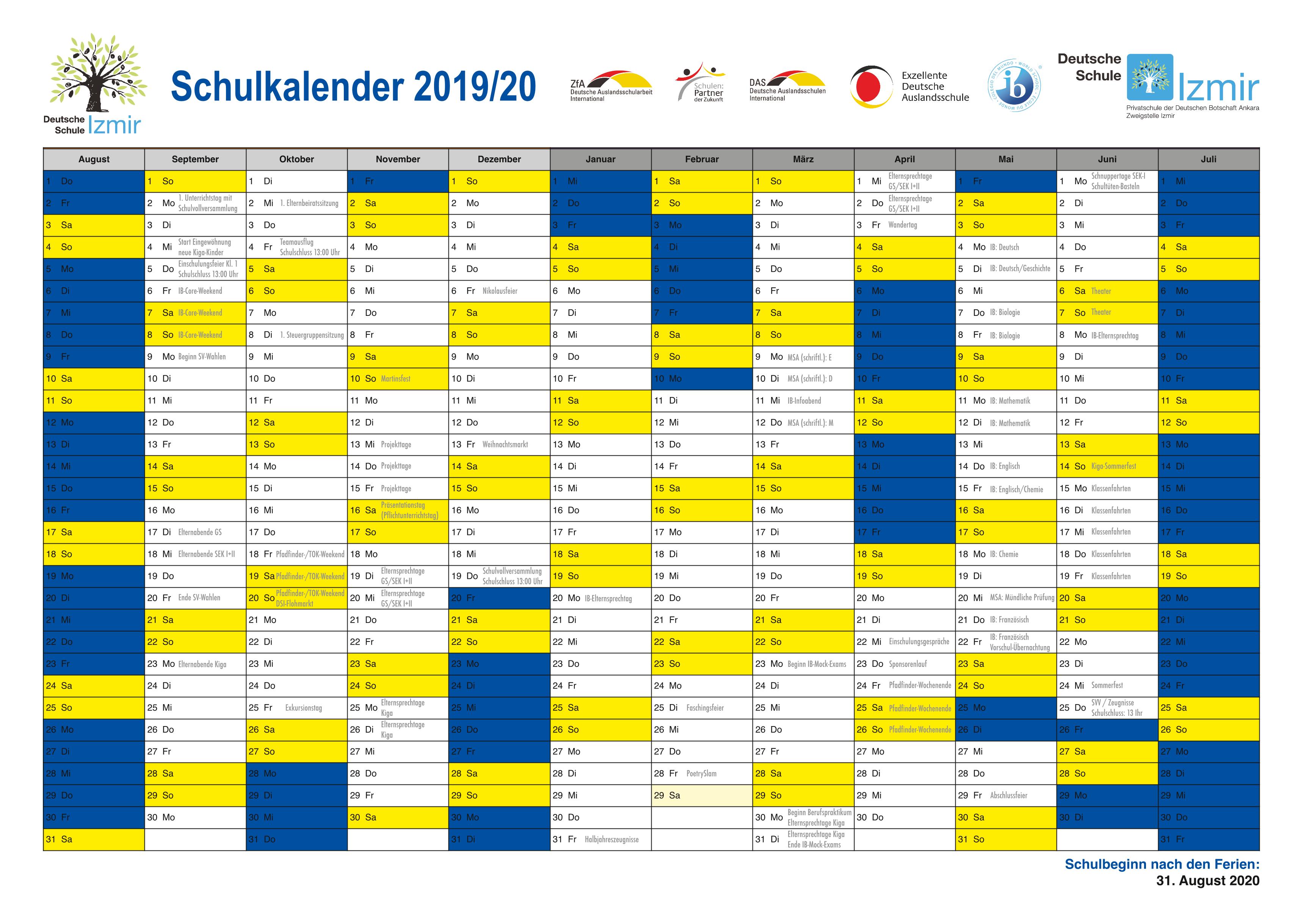 Schulkalender 2020 2021 Nrw Fur Pdf